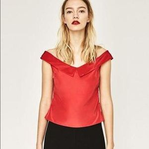 Nwt Zara Red Satin Silk Off Shoulder Top